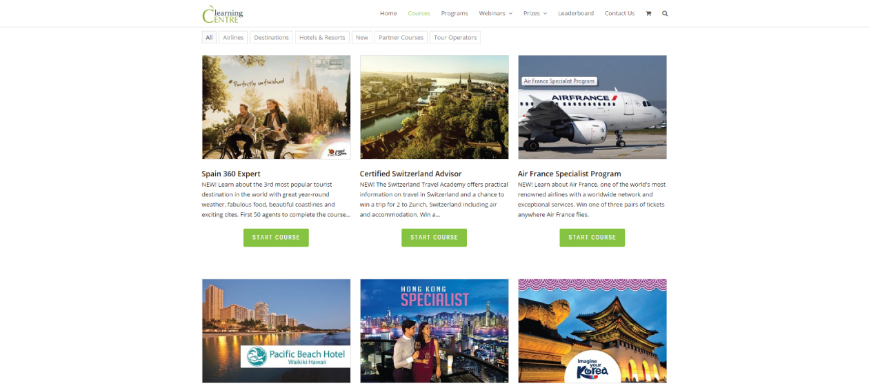Travelweek Learning Centre: Courses Page